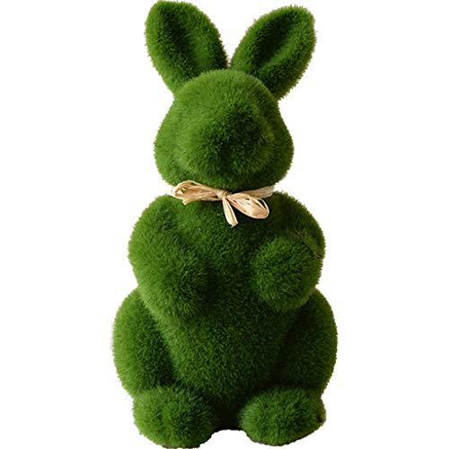 Lisanl Easter Series – Fatta a mano muschio coniglio erba artificiale pasquale, coniglio pasquale, decorazione per la casa