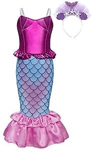AmzBarley Disfraz sSirenita Niña Boda Fiesta Princesa Sirena Vestido Ropa Niña Cumpleaños Cinta Cosplay Halloween Navidad Carnaval Bautizo 4-5 Años