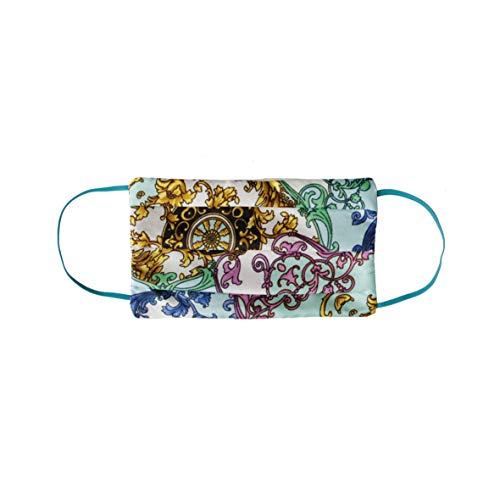 CODELLO Damen Mund Nasen Maske mit Ornamentdruck aus Seide, Navy Blue, Einheitsgröße