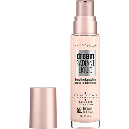 Maybelline Dream Radiant Liquid Medium Coverage Hydrating Makeup, Lightweight Liquid Foundation, Fair Ivory, 1 Fl. Oz