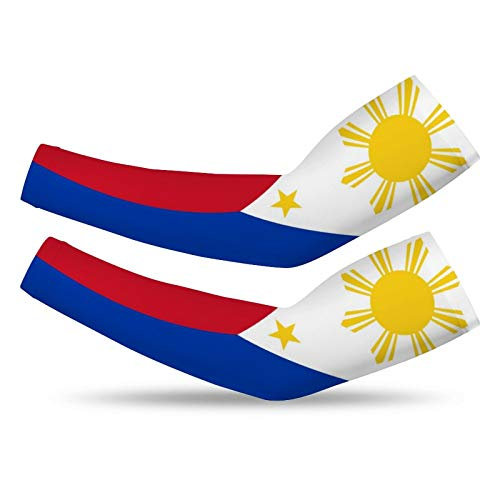 Filipino Flag Summer Cooling Compression Arm Sleeves -1 Pair,UV Protection Breathable Seamless for Adult Youth