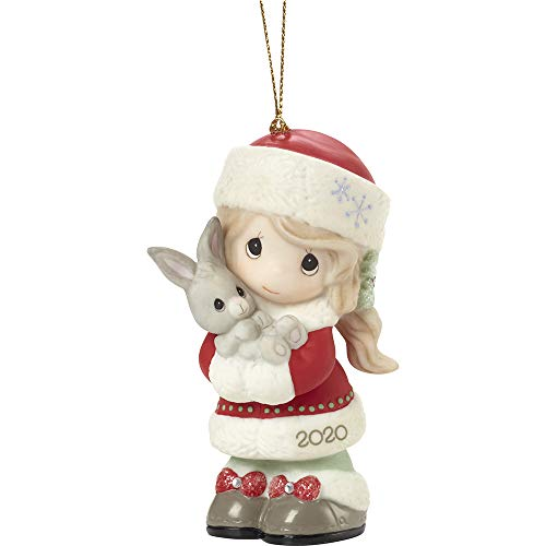 Precious Moments 201002 Every Bunny Loves A Christmas Hug 2020 Dated Girl Bisque Porcelain Ornament, Multicolored