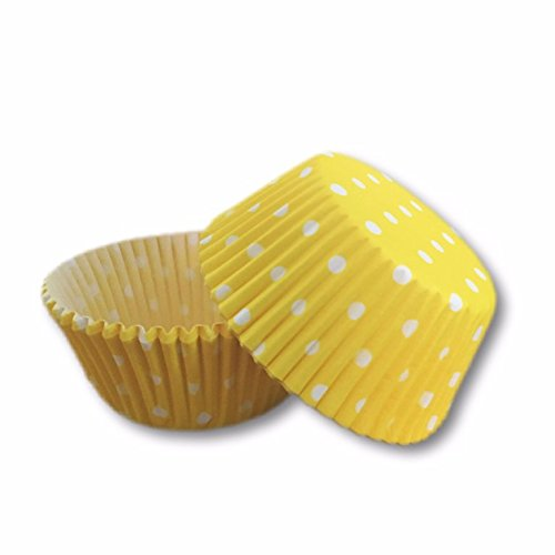 Bakell 25 PC Set of Standard Sized Cupcake Muffin Liners/Wrappers with Polka Dots: Yellow and White Quality Baking Paper Cups Tools Pan kit