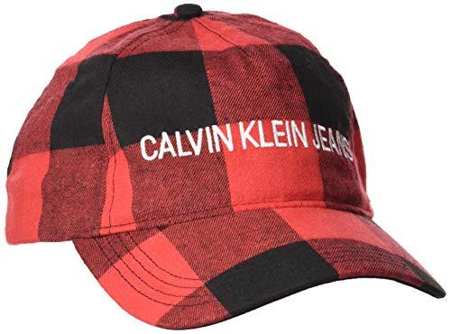 Calvin Klein Herren Baseball Cap J Buffalo Check, Schwarz (BLACK 0K4) One Size (Herstellergröße:OS)