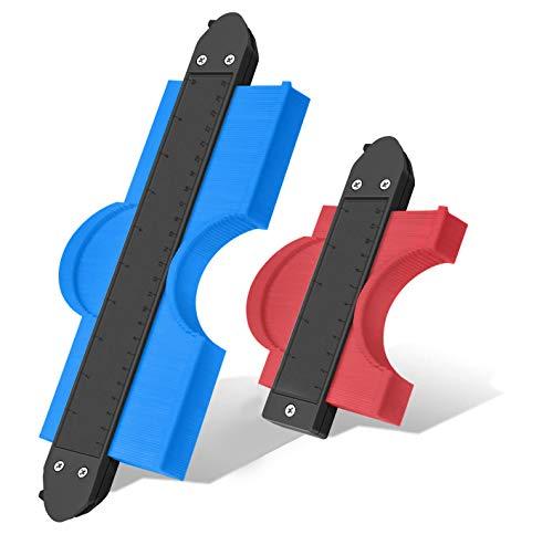 TOCO FREIDO 型取りゲージ コンターゲージ 曲線定規 DIY用測定工具 多機能 ロファイルゲージ ABS目盛付き ロックでき 2点セット