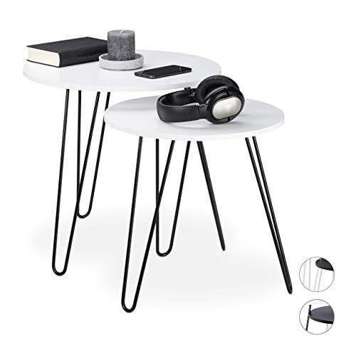 Relaxdays Beistelltisch 2er Set, rund, Satztische Flur, Wohnzimmer, Couch, klein, 3 Metallbeine, Ø 40 und 48 cm, weiß