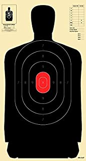 Official B-34 Target, 25 Yard Police Pistol Silhouette Target, Reduced from 50 Yard B-27