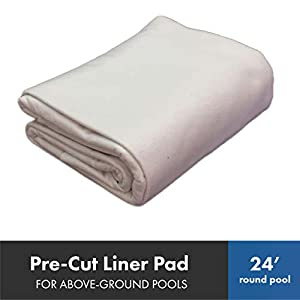 Liner Life Pre-Cut Swimming Pool Liner Pad, 24' Round, White – Made of Strong, Durable Polyester Geotextile Material, Precut to Fit Perfectly, GP24R, 24'