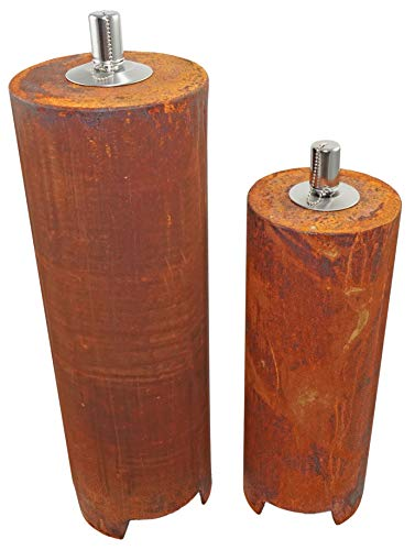JuSt Trade Feuersäule Gartenfackel Garten Fackel Öl-Lampe Öllampe in Rost-Optik (45cm + 60 cm)