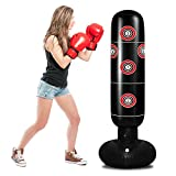 TUOWEI Punching Bag for Kids, Inflatable Kids Punching Bag with Stand for Adults 63 Inch Freestanding Punching Bag for Practice Karate, Taekwondo, MMA, Kids Adults Standing Boxing Bag