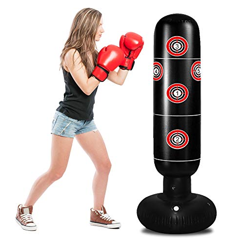 TUOWEI Punching Bag for Kids, Freestanding Punching Bag with Stand for Adults and Kids Target Boxing Bag Set
