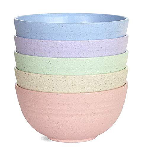 5 cuencos de cereales pequeños y ligeros para niños, 12 cm, irrompibles, para lavavajillas, microondas (5 colores)