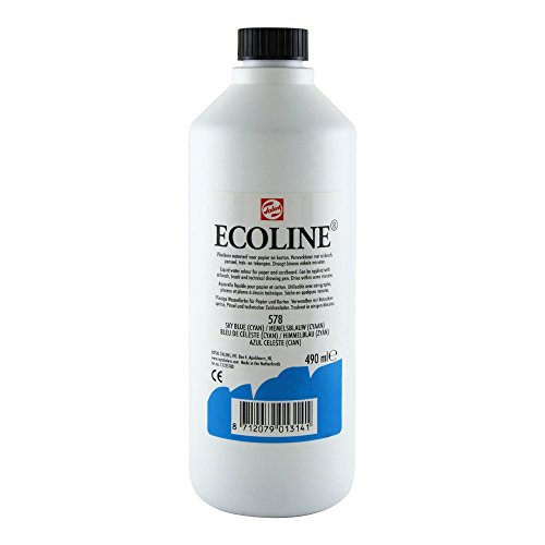 Royal Talens Ecoline Liquid Watercolor, 490ml Bottle, Sky Blue Cyan (11725780)