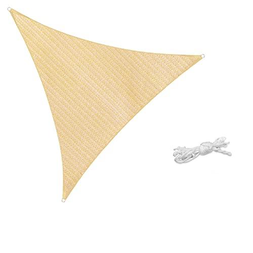 Sekey Toldo Vela de Sombra Triangular HDPE Protección Rayos UV Resistente Permeable Transpirable para Patio, Exteriores, Jardín, con Cuerda, Beige 3.6×3.6×3.6m