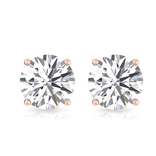 Aretes de diamante redondos con certificado IGI de 0,26 ct, con claridad de color IJ-SI, único cumpleaños, aniversario, madre, 14K Oro rosa, Par