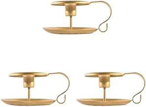 WLJBD Suportes para velas, suporte para vela para mesa de jantar, 3 peças, suporte para vela cônica, ferro forjado, suport...