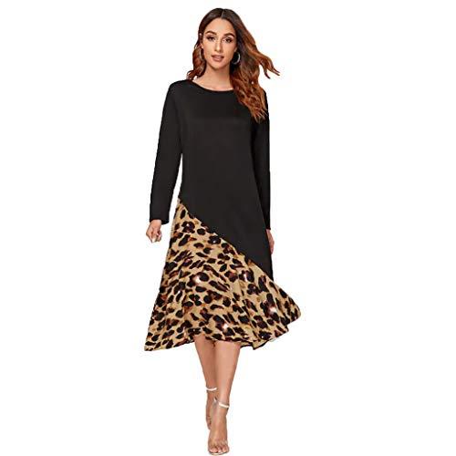 Floweworld Damenmode Lange Kleider Langarm O-Ausschnitt Leopardenmuster Patchwork Kleider Lose knöchellange Swing-Kleider Gerade Freizeitkleider