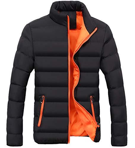 S & S-MEN 따뜻한 겨울 캔디 색상 대비 안감 따뜻한 복어 압축 재킷 (작은 오렌지색)