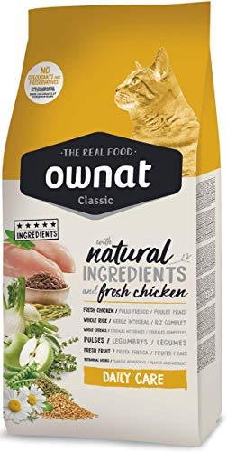Ownat Pienso para Gatos Classic Daily Care Pollo (15 kg). Ownat para Gatos con Ingredientes Naturales sin Preservantes ni Colorantes, Comida Alta en Proteínas.