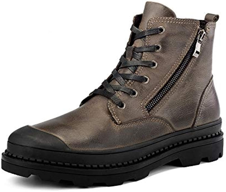 Qiusa Mens Lace up Side Zip Chukka Stiefel Stiefel aus echtem Leder Pelz gefüttert Ankle Stiefel (Farbe   Braun, Größe   EU 41)  schneller Versand und bester Service