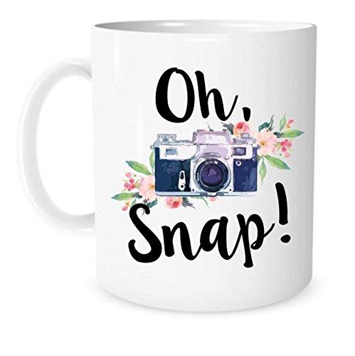 N\A ¡Oh, chasquido! Taza para cámara - Taza de cerámica Blanca para café o té - Regalo para fotógrafo - Taza para fotografía Taza de edición de Fotos
