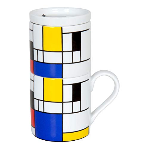 Könitz Hommage to Mondrian Small Fragments Coffee for One Kaffeefilterset, 3-TLG, Becher, Tasse, Aufsatz, Edelstahlfilter, Porzellan, 370 ml, 11 5 618 1907