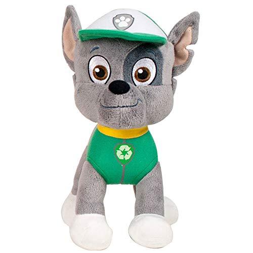 JuniorToys Design für Paw Patrol Plüschtier 28cm Helfer auf Vier Pfoten als kuschelige Plüschhunde (Rocky Mischlingswelpe)