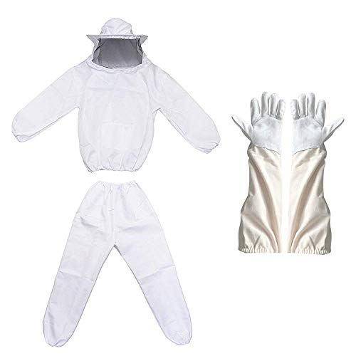 Ladaza Professional Beekeeper Suit (Include Jacket, Pants, Gloves) White