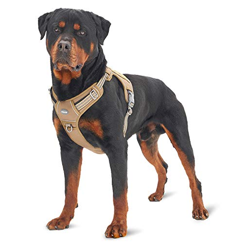Auroth Tactical Dog Training Harness No Pulling Front Clip Leash Adhesion Reflective K9 Pet Working Vest Easy Control for Small Medium Large Dogs Army Yellow L