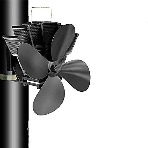 4 lames Tuyau de fumée Ventilateur de poêle Appareil de chauffage alimenté fixe sur le tuyau de cheminée en bois/poêle à bois/cheminée noir