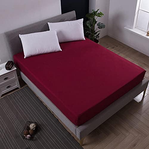 DSman Funda de colchón Anti chinches, Transpirable, Sábana Impermeable a Prueba de orina Pure Color-Burgundy_King_76X80 + 18