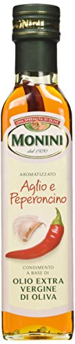 Monini Aromatizzato Aglio e Peperoncino Condimento a Base di Olio Extra Vergine di Oliva - 1 Bottiglia da 250 ml
