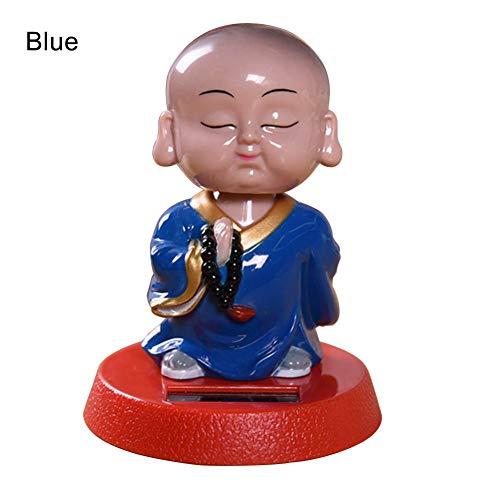 Bangle009 Solar-Klapp-Topf Schaukelspielzeug, Cartoon-Mönch-Figur, Auto-Dekoration, blau, Einheitsgröße