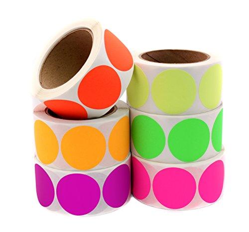 ChromaLabel Kit de etiquetas de código de color fluorescente | 6 colores surtidos | 3.000 pegatinas/paquete variado