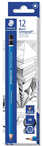STAEDTLER Mars Lumograph 100-9B Premium Quality Pencil, Hardness 9B, Box of 12, Blue (100-9B VE)