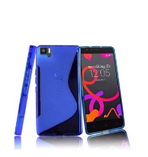 cogac Funda Flexi Gel Compatible con BQ AQUARIS M5.5 S-Line Azul Carcasa Protectora Case