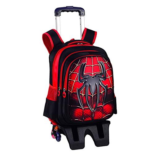 MYYLY Zaino Trolley Ragazzo Spiderman 6 Ruote con Barra di Trazione Nascosta Borsa Scuola Bambini Asta Picnic All'aperto 2 in 1 Portapacchi Supereroe,Red-L 6 Wheel