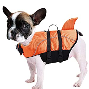 Queenmore Ripstop Dog Life Jacket Shark Life Vest for Dogs, Safety Lifesaver with High Buoyancy and Lift Handle for Small and Medium Breeds(Orange S)