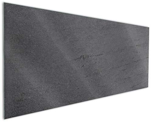Wallario Küchen-Rückwand | Glas mit Motiv Schwarze Schiefertafel Optik – Steintafel in Premium-Qualität: Brillante Farben, ohne Aufhängung | abwischbar | pflegeleicht