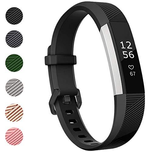 ANNYOO für Fitbit Alta HR Armband und Alta Armband, Alta Armband Weiches Verstellbares Sport Ersatzarmband Fitness Zubehörteil mit Metallschließe (S/Schwarz)