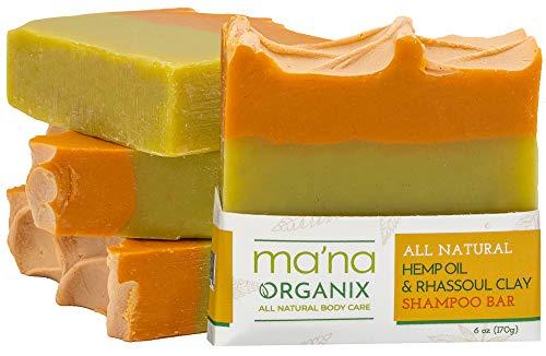 Ma'na Organix – All Natural Hemp Oil & Rhassoul Clay Detoxifying Shampoo Bar with Ecofriendly and Biodegradable Packaging (6 oz.)