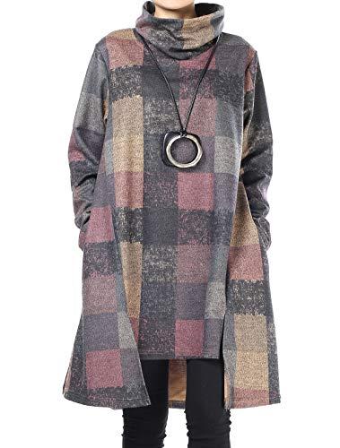 Mallimoda Damska tunika, sukienka w stylu vintage, z długim rękawem, w kratkę, koszulka, linia A, sweter z kieszeniami