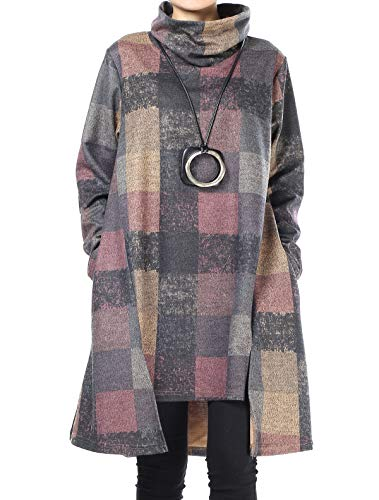 Mallimoda Damen Rollkragen Tunika Kleid Vintage Langarm Kariert Shirt A-Linie Pullover Oberteile mit Taschen Lila XXL