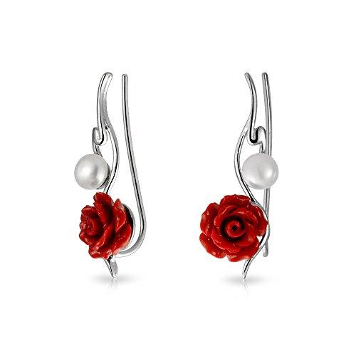 Moderno 3D rojo rosa flor blanco agua dulce cultivado perla alambre de la oreja pin escaladores crawlers pendientes para las mujeres 925 plata de ley