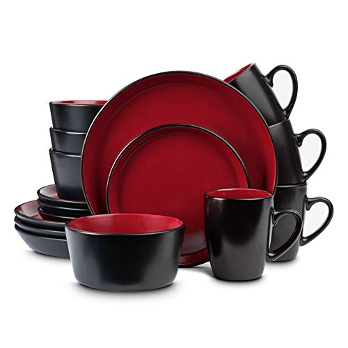 Stone Lain Geschirr-Set aus Steingut, Service für 4 Personen, Rot und Schwarz