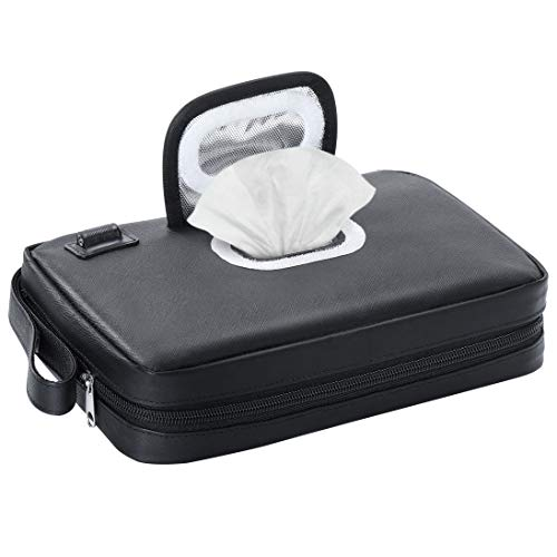 Baby Portable Wipe Warmer,USB Cable Link to Portable Charger to Heat Wipes,Perfect for Travel or On The Go,Diaper Change Snugly for Infant,Leather Dispenser Design
