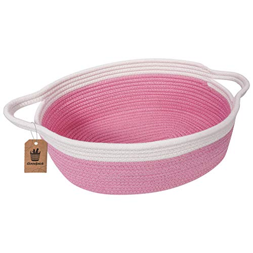 Goodpick Small Woven Basket | Cute Pink Rope Basket | Cotton Basket | Room Storage Basket | Chest Box with Handles Basket 12'x 8' x 5' Oval Candy Color Design