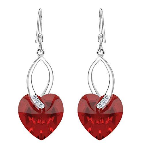 Pendientes Mujer - Clearine Aretes Corazón Amor Plata 925 Cristal para Novia Boda Fiesta Regalo Rojo