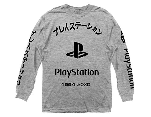 Ripple Junction Playstation Arched Kanji with Logo Long Sleeve Crew T-Shirt MD Heather Grey