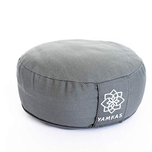 Yamkas Cojin Meditacion Yoga – Relleno de Cáscaras de Trigo Sarraceno – Cubierta en Algodon Lavable- Zafu Meditación - Cojin Suelo Redondo - Meditation Cushion - Altura 15 cm (Gris, 30 x 15 cm)